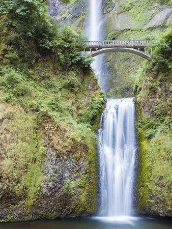 Water Cascades Down Multnomah Falls, Oregon