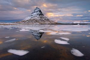 Kirkjufell Mountain at Dawn with Ice in Foreground, Snaefellsnes Peninsula, Iceland, January 2014 by Ben Hall
