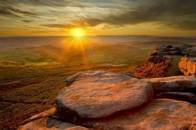 Scenic View from Higger Tor at Sunset, Peak District Np, UK, September 2011