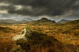 Scenic View of Moorland Landscape from Blackbeck Tarn, Lake District Np, Cumbria, UK by Ben Hall