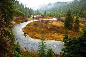 A Salmon River S-Bends Through Central Idaho on a Rainy Autumn Day by Ben Herndon