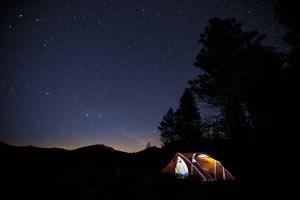 A Tent Glows at Lava Point in Tieton Canyon, Washington State Near the Cascades by Ben Herndon