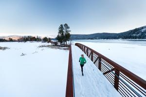 Noelle Zmuda, Winter Run At Balto Dog Park Along The Pend Oreille River Near Sandpoint, Idaho by Ben Herndon