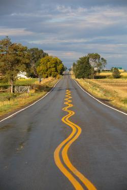 Squiggly Painted Lines On A Two Lane Highway by Ben Herndon