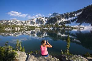 Woman Drinks An Alpine Cocktail, Mirror Lake, Eagle Cap Wilderness Of Wallowa Mts NE Oregon by Ben Herndon