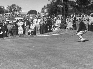 """Ben Hogan Applying """"Body English"""" after Putting on 7Th, But Ball Went Foot Past Hole and Took Par"""