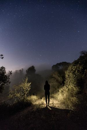 A Hiker Walks Down a Trail under the Stars by Ben Horton