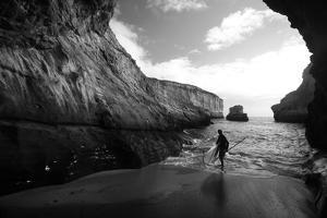 A Stand Up Paddleboarder on the Rough Coastline North of Santa Cruz by Ben Horton