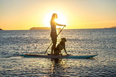 A woman takes her dog paddleboarding in Baja. by Ben Horton
