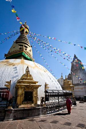 Kathmandu, Nepal: Prayer Flags Above Swayambhunath Stupa by Ben Horton