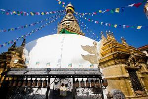 Prayer Flags Above Swayambhunath Stupa by Ben Horton
