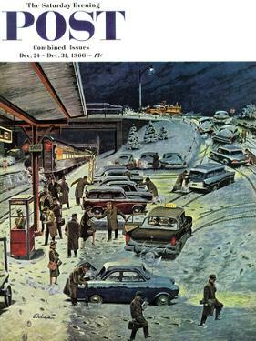 """Commuter Station Snowed In,"" Saturday Evening Post Cover, December 24, 1960 by Ben Kimberly Prins"