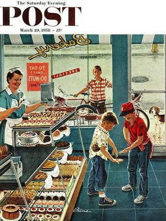 """""""Doughnuts for Loose Change"""" Saturday Evening Post Cover, March 29, 1958"""