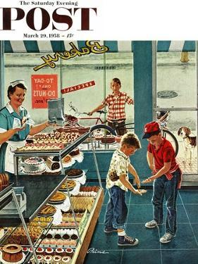 """Doughnuts for Loose Change"" Saturday Evening Post Cover, March 29, 1958 by Ben Kimberly Prins"