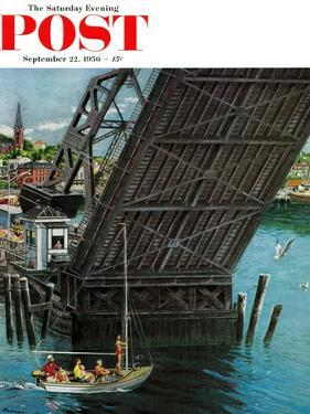 """Drawbridge"" Saturday Evening Post Cover, September 22, 1956 by Ben Kimberly Prins"
