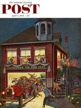 """Fireman's Ball"" Saturday Evening Post Cover, April 3, 1954 by Ben Kimberly Prins"