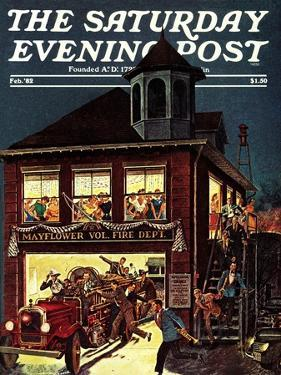 """Fireman's Ball,"" Saturday Evening Post Cover, February 1, 1982 by Ben Kimberly Prins"