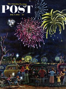 """Fireworks"" Saturday Evening Post Cover, July 4, 1953 by Ben Kimberly Prins"