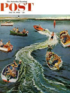"""Making a Wake"" Saturday Evening Post Cover, July 26, 1958 by Ben Kimberly Prins"