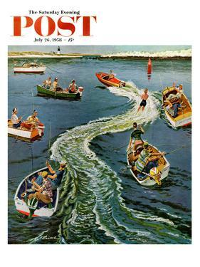 """""""Making a Wake"""" Saturday Evening Post Cover, July 26, 1958 by Ben Kimberly Prins"""