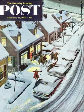"""Party After Snowfall"" Saturday Evening Post Cover, February 12, 1955 by Ben Kimberly Prins"