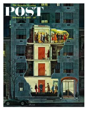 """Party Holding Up the Elevator,"" Saturday Evening Post Cover, February 25, 1961 by Ben Kimberly Prins"