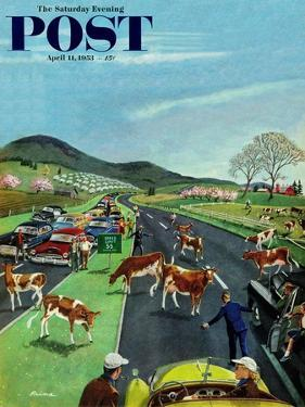 """Slow Mooving Traffic"" Saturday Evening Post Cover, April 11, 1953 by Ben Kimberly Prins"