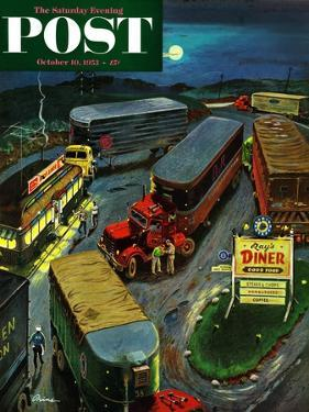 """Truck Stop Diner"" Saturday Evening Post Cover, October 10, 1953 by Ben Kimberly Prins"
