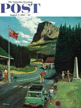 """U.S./Canadian Border at Waterton-Glacier,"" Saturday Evening Post Cover, August 5, 1961 by Ben Kimberly Prins"