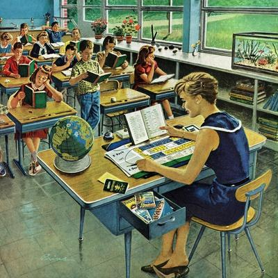 Norman Rockwell Classroom Print KNOWLEDGE IS POWER