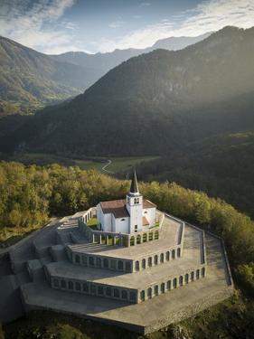 Aerial view by drone of St. Anthony's Sanctuary Caporetto Memorial, Kobarid, Goriska, Slovenia by Ben Pipe