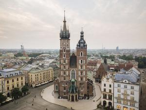Aerial view of The Church of Saint Mary in Rynek Glowny (Market Square), Krakow, Poland by Ben Pipe