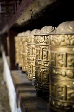 Buddhist Prayer Wheels, Namche Gompa (Monastery), Namche Bazaar, Solu Khumbu Region, Nepal by Ben Pipe