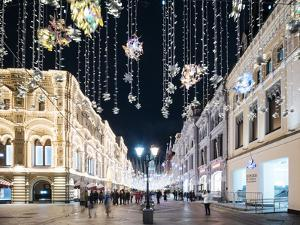 Christmas Lights on Nikolskaya Street, Moscow, Moscow Oblast, Russia by Ben Pipe
