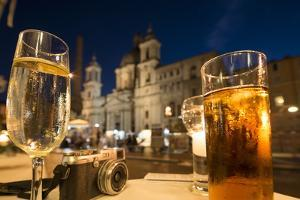 Cocktails on a Restaurant Table, Piazza Navona, Rome, Lazio, Italy, Europe by Ben Pipe