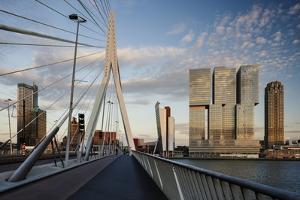Erasmus Bridge and De Rotterdam, Wilhelminakade, Rotterdam, Netherlands, Europe by Ben Pipe