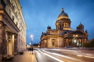 Exterior of St. Isaac's Cathedral at night, St. Petersburg, Leningrad Oblast, Russia by Ben Pipe