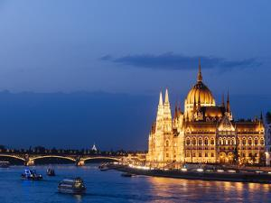 Hungarian Parliament Building and Danube River at Night, UNESCO World Heritage Site, Budapest by Ben Pipe