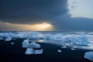 Icebergs on Beach, Jokulsarlon, Iceland, Polar Regions by Ben Pipe