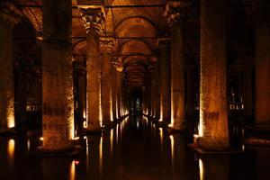 Interior of Basilica Cistern, Sultanahmet, Istanbul, Turkey by Ben Pipe