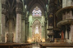 Interior of Milan Cathedral, Piazza Duomo, Milan, Lombardy, Italy, Europe by Ben Pipe