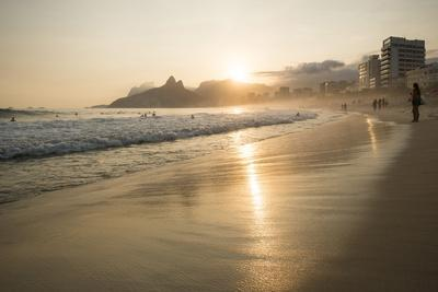 Ipanema Beach at Sunset, Rio De Janeiro, Brazil, South America