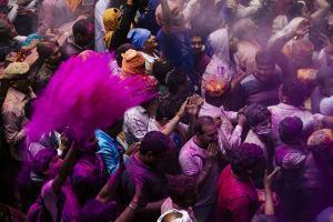 Lathmar Holi Celebrations in Bankei Bihari Temple, Vrindavan, Braj, Uttar Pradesh, India, Asia by Ben Pipe
