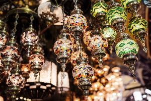 Mosaic Glass Turkish Lights on Display, Grand Bazaar (Kapali Carsi), Istanbul, Turkey by Ben Pipe