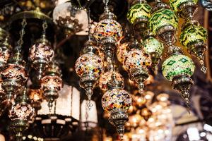 Mosaic Glass Turkish Lights on Display, Grand Bazaar (Kapali Carsi), Istanbul, Turkey by Ben Pipe