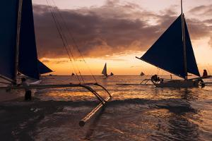 Paraw Boats, White Beach, Boracay, the Visayas, Philippines, Southeast Asia, Asia by Ben Pipe