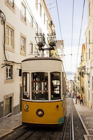 Tram in Elevador Da Bica, Lisbon, Portugal