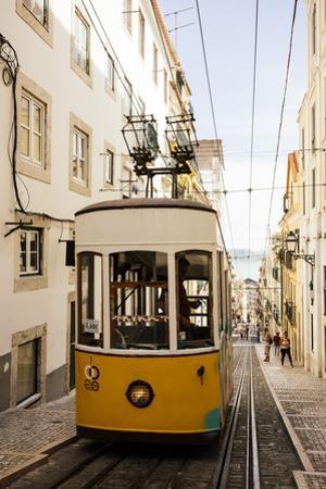 Tram in Elevador Da Bica, Lisbon, Portugal by Ben Pipe