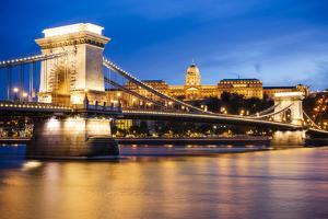 View across Danube River of Chain Bridge and Buda Castle at Night, UNESCO World Heritage Site by Ben Pipe