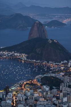View from Cristo Redentor over Rio De Janeiro at Night, Corcovado, Rio De Janeiro by Ben Pipe